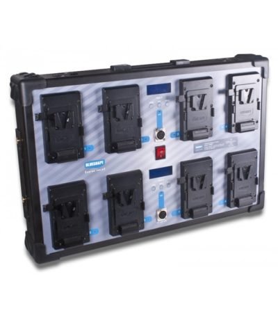 Studio charger V-lock batteries, WALL MOUNTING. Charges 8 batteries simultaneous. LCD info